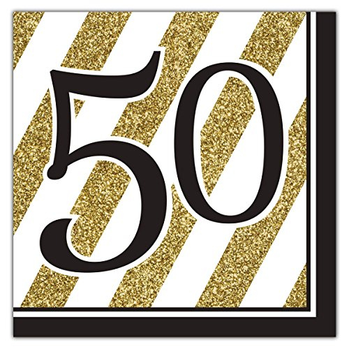 Black and Gold 50th Birthday Napkins (Set of 16) -