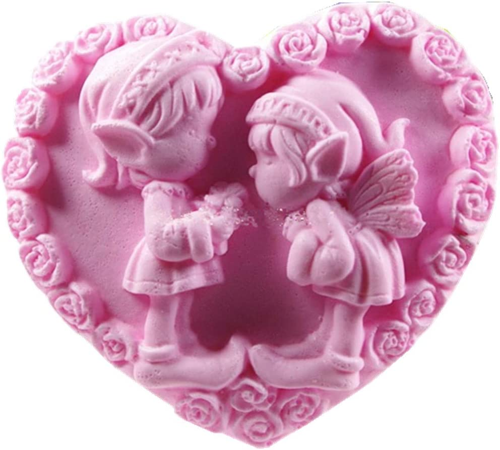 Silicone mold 3D Heart shape box with Roses or with Angel Soap molds for Valentine/'s Day.