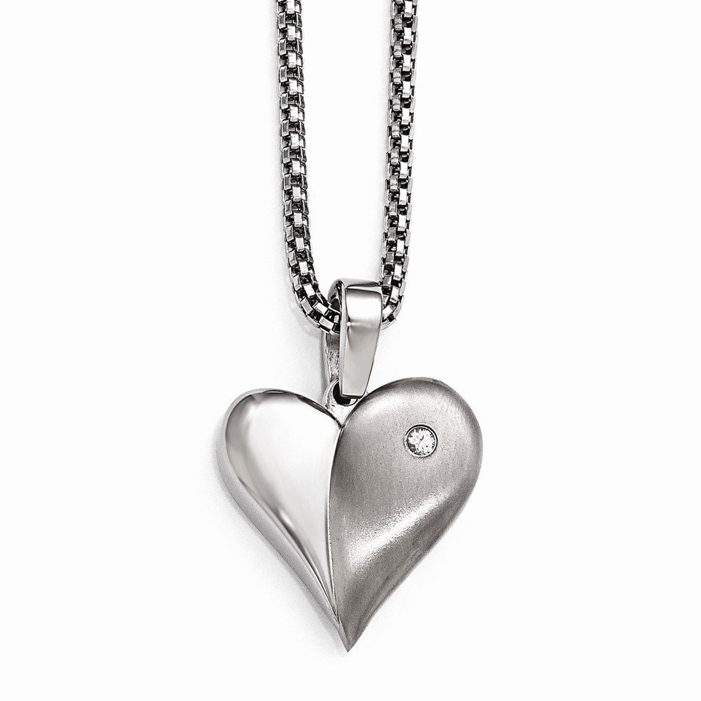 Top 10 Jewelry Gift Edward Mirell Titanium White Sapphire Heart w/Silver Bezel & 2in ext Steel