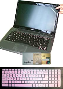 US Layout Keyboard Skin Cover +15.6'' anti glare Screen Protector for HP 15-ab 15-ac 15-ae 15-af 15-an 15-ak, 15-ac121dx 15-ab220nr 15-af175nr 15-an051dx 15-ak012nr (semi-light pink)