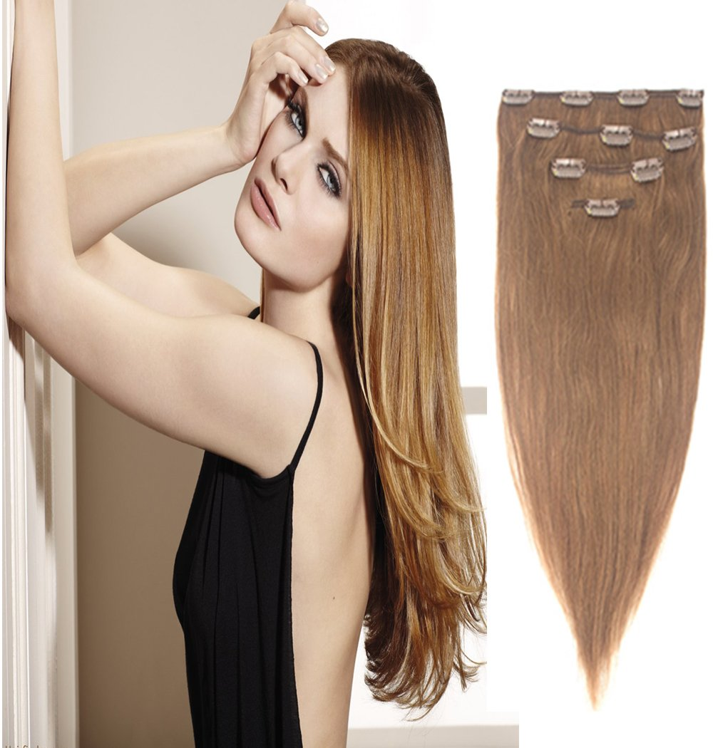 OMG_Shop 13-19 Clip in Hair Extensions Silky Straight Full Head Remy Human Hair OMG@K13-19-CN-ZZH-C