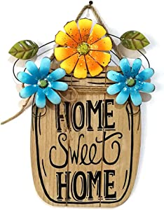 UWIOFF Home Sweet Home Sign Rustic Wood Wall Hanging Plaque Sign Flower Welcome Sign for Front Door Decorative Hanging Sign Home Porch Decoration