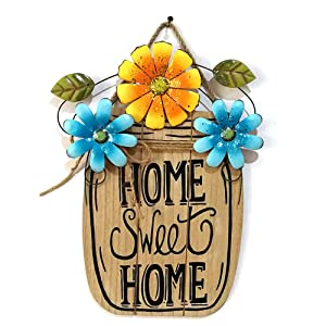 Asdomo Wooden DIY Welcome Sign for Front Door Home Decoration, Flower Decor Hanging Pendant Tags Craft Sig Home Wall Door Ornaments with String