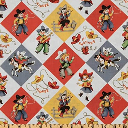 Amazon Com Michael Miller Yippee Cowboy Fabric By The Yard Retro