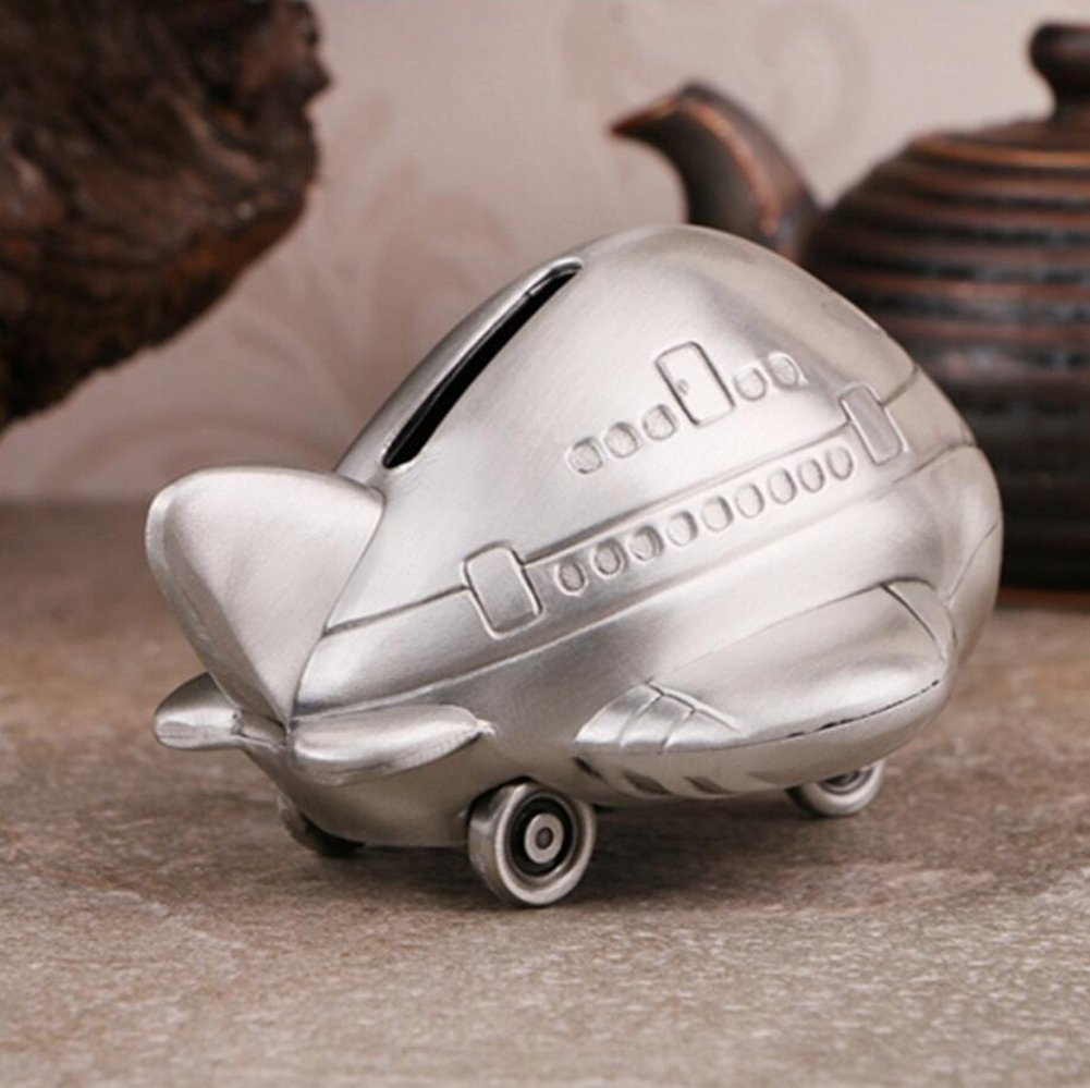 WW Aircraft Piggy Bank Metal Crafts Ornaments Child Gift Home