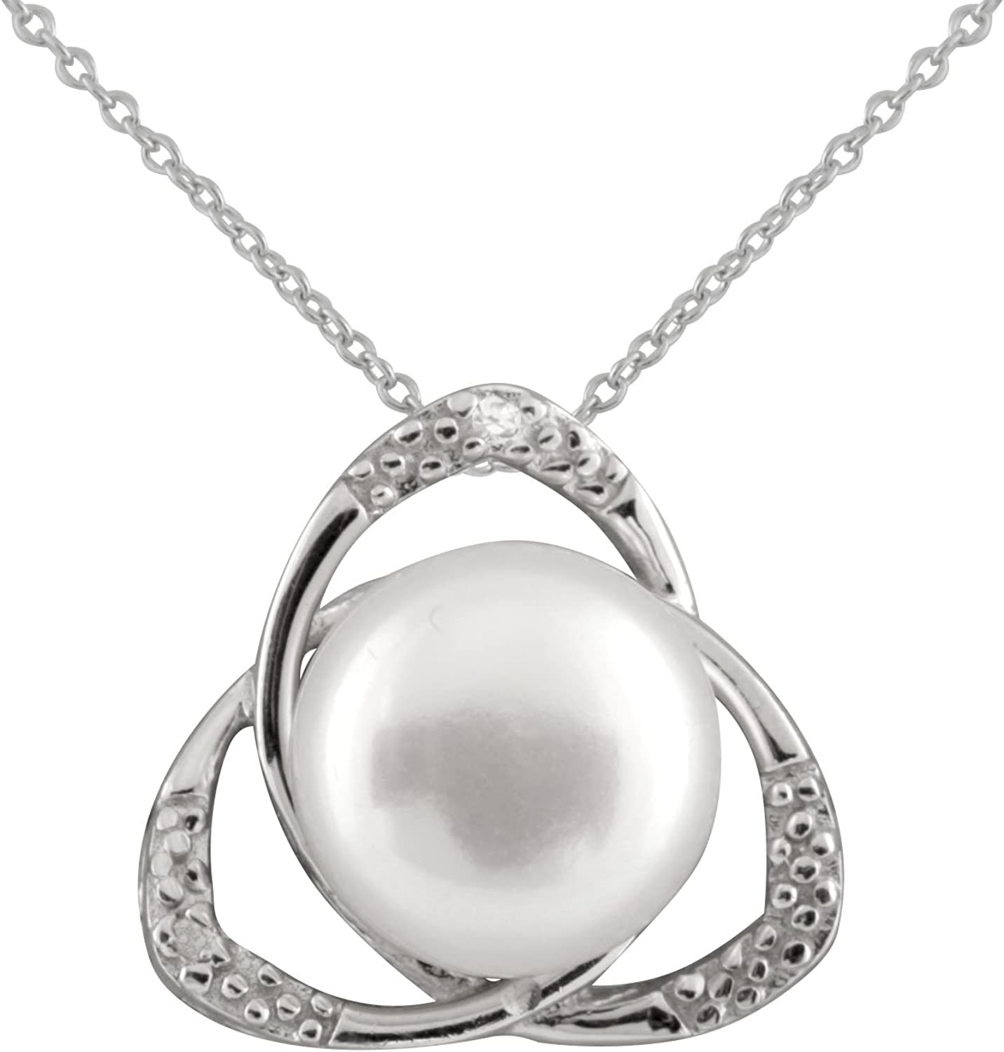 8-8.5mm Freshwater Cultured Pearls Rhodium-plated 925 Sterling Silver 17 Necklace and Earrings Set Handpicked AAA