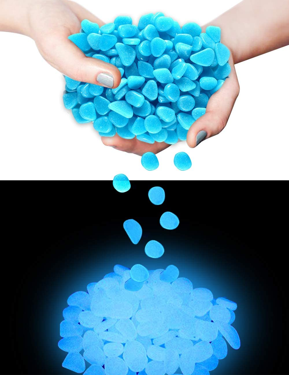 【400 Pcs】 Glow in The Dark Rocks,Glowing Stones Garden Glow in The Dark Pebbles Outdoor Decorative Stones Small Patio Decor Garden Decorations