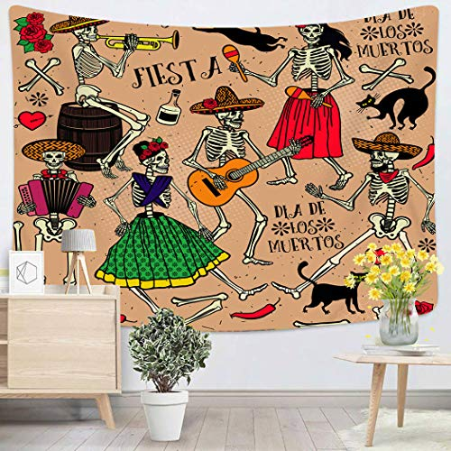 Houlor Tapestry Wall Hanging Red Dead with Skeletons