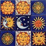 Sun Moon Talavera Mexican Tile 4x4 Hand Painted
