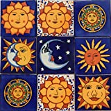 Sun Moon Talavera Mexican Tile 4x4 Hand Painted