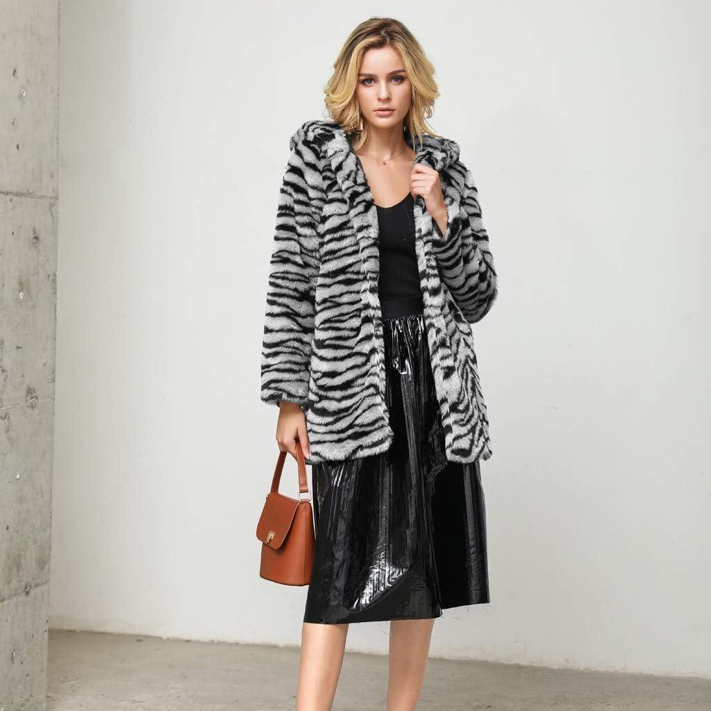 IEason Women Mid-Long Leopard Faux Fur Cardigan Outwear Loose Trend Hooded Coat