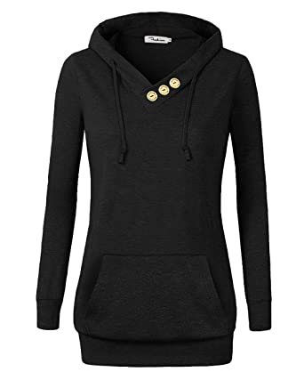 5e2f6752f53 VOIANLIMO Women s Sweatshirts Long Sleeve Button V-Neck Pockets Pullover  Hoodies Black S