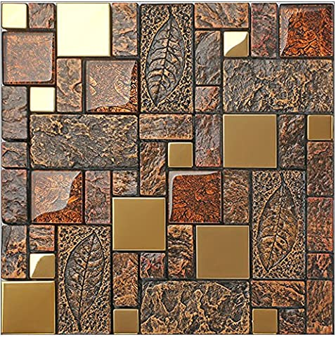 Vintage Brown Resin Stainless steel metal Glass blends mosaic wall tiles,Bathroom kitchen Fireplace wall,Rustic Art Tile Design - LSRN11 (PACK OF 11 (Fireplace Wallpaper)