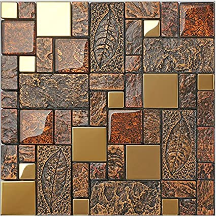 Vintage Brown Resin Stainless Steel Metal Glass Blends Mosaic Wall Unique Resin Backsplash Ideas