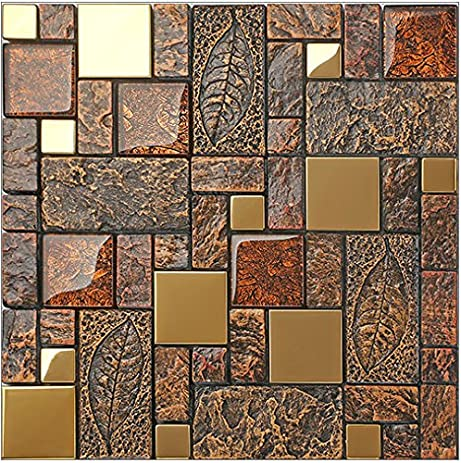 Vintage Brown Resin Stainless steel metal Glass blends mosaic wall