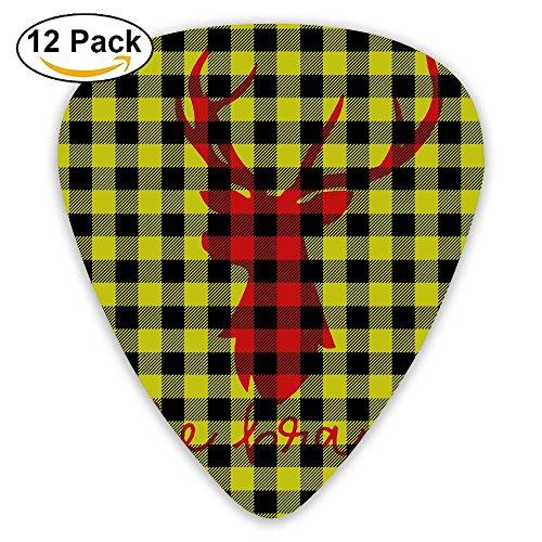 Funny Light Plaid Moose Buffalo Jazz Thin Heavy Medium Light Guitar Picks Girls 12 Packs Cigar Box Guitar