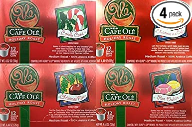 HEB Cafe Ole Holiday Roast Single Serve Coffee Cups 12 Per Box - Medium Roast (Pack of 4 Boxes - 48 Cups) Select Flavor Below (Sampler Pack - 1 Box ...
