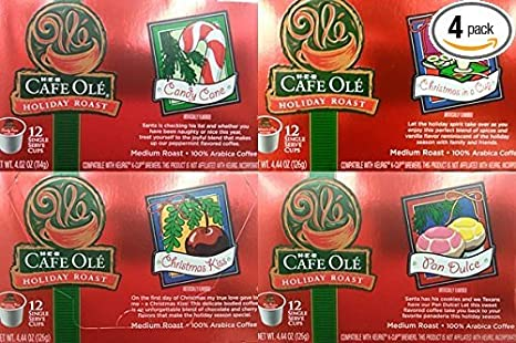 HEB Cafe Ole Holiday Roast Single Serve Coffee Cups 12 Per Box - Medium Roast (Pack of 4 Boxes - 48 Cups) Select Flavor Below (Candy Cane - Peppermint ...
