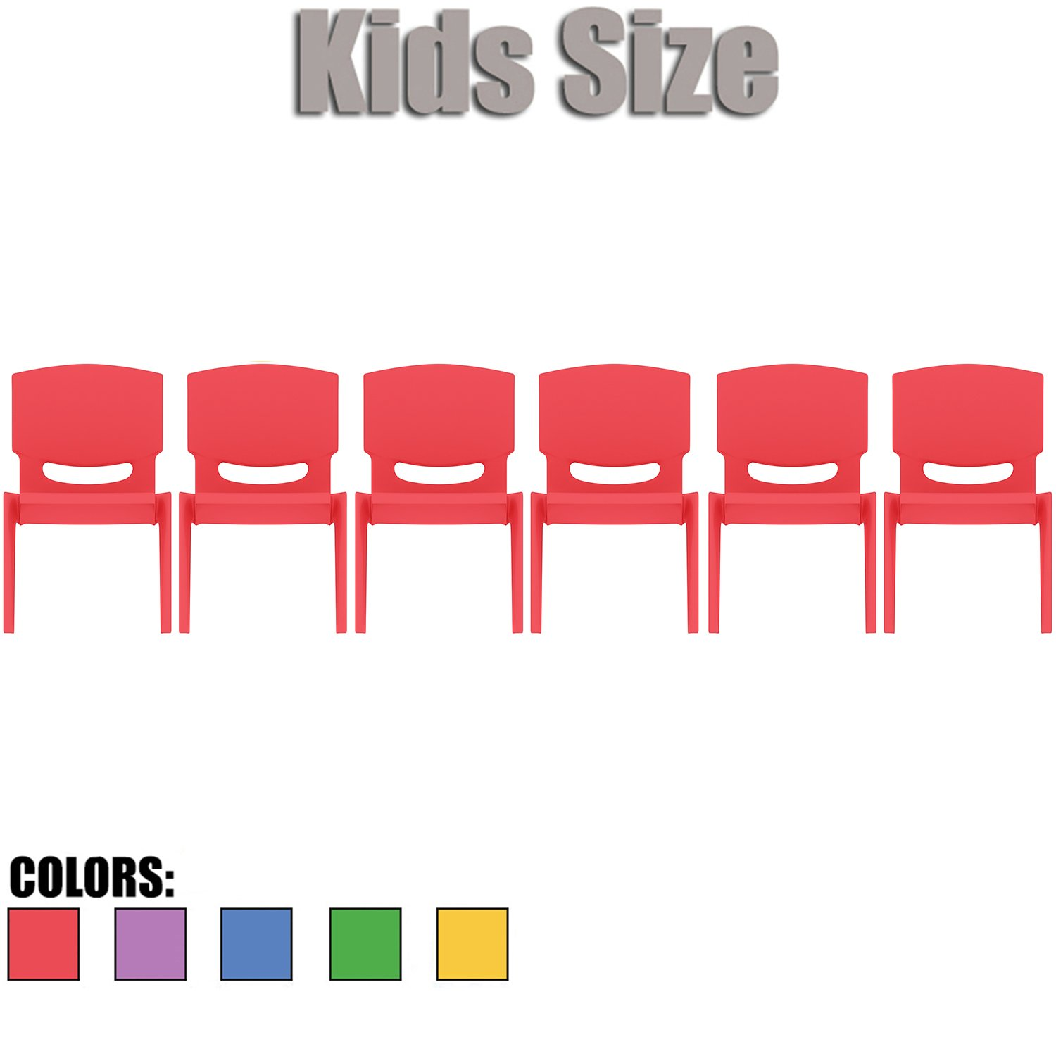 2xhome - Set of Six (6) - Red - Kids Size Plastic Side Chair 10'' Seat Height Red Childs Chair Childrens Room School Chairs No Arm Arms Armless Molded Plastic Seat Stackable