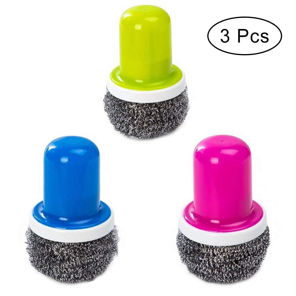 Stainless Steel Scourers with Handle,Reusable Dish Scrubber Cleaning Brush for Washing Pot Dish (Blue+Green+Red)