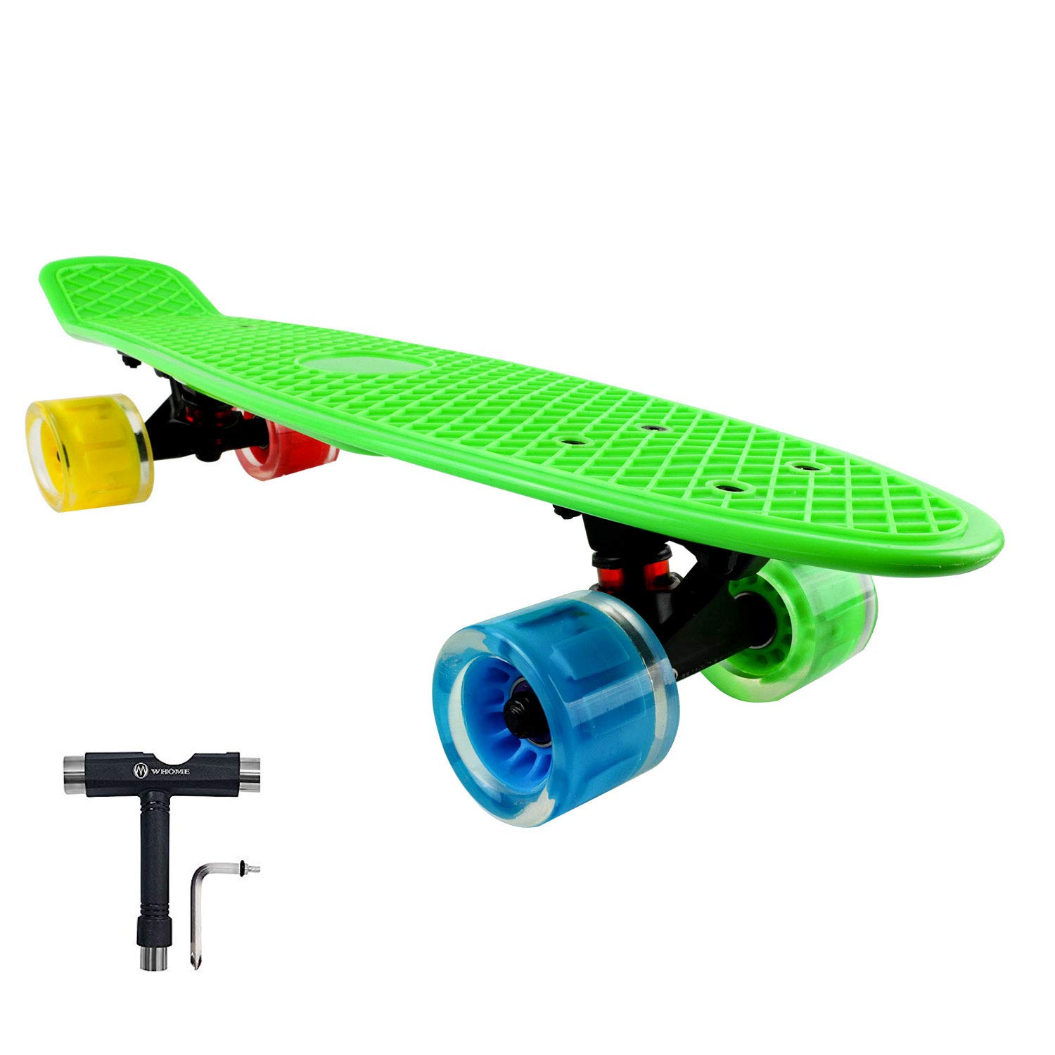 WHOME 4Th Generation LED Wheel Skateboard for Adult Youth Kid and Beginner - 22'' Cruise Skateboard Complete with 60x45mm LED Light Up Wheels for Girl and boy T-Tool Included