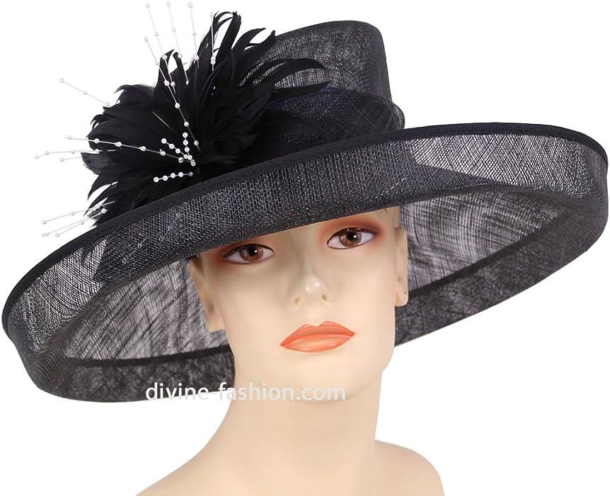 Ms Divine Womens Wide Brim Sinamay Derby Church Hats Dress Formal Wedding  Hats  HL71 ( b34566878b8
