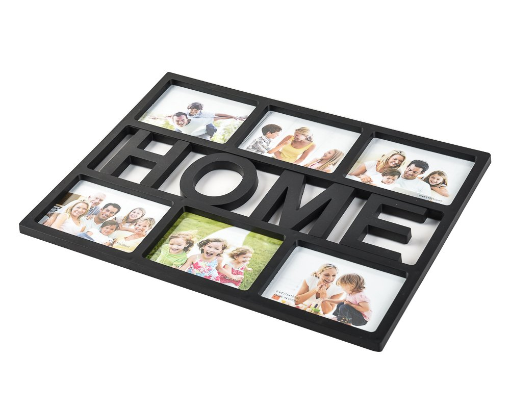 Arpan 6x4'' ''HOME'' or ''FAMILY'' Multi Picture Aperture Photo Frame Holds 6 Photos (Black ''FAMILY'')