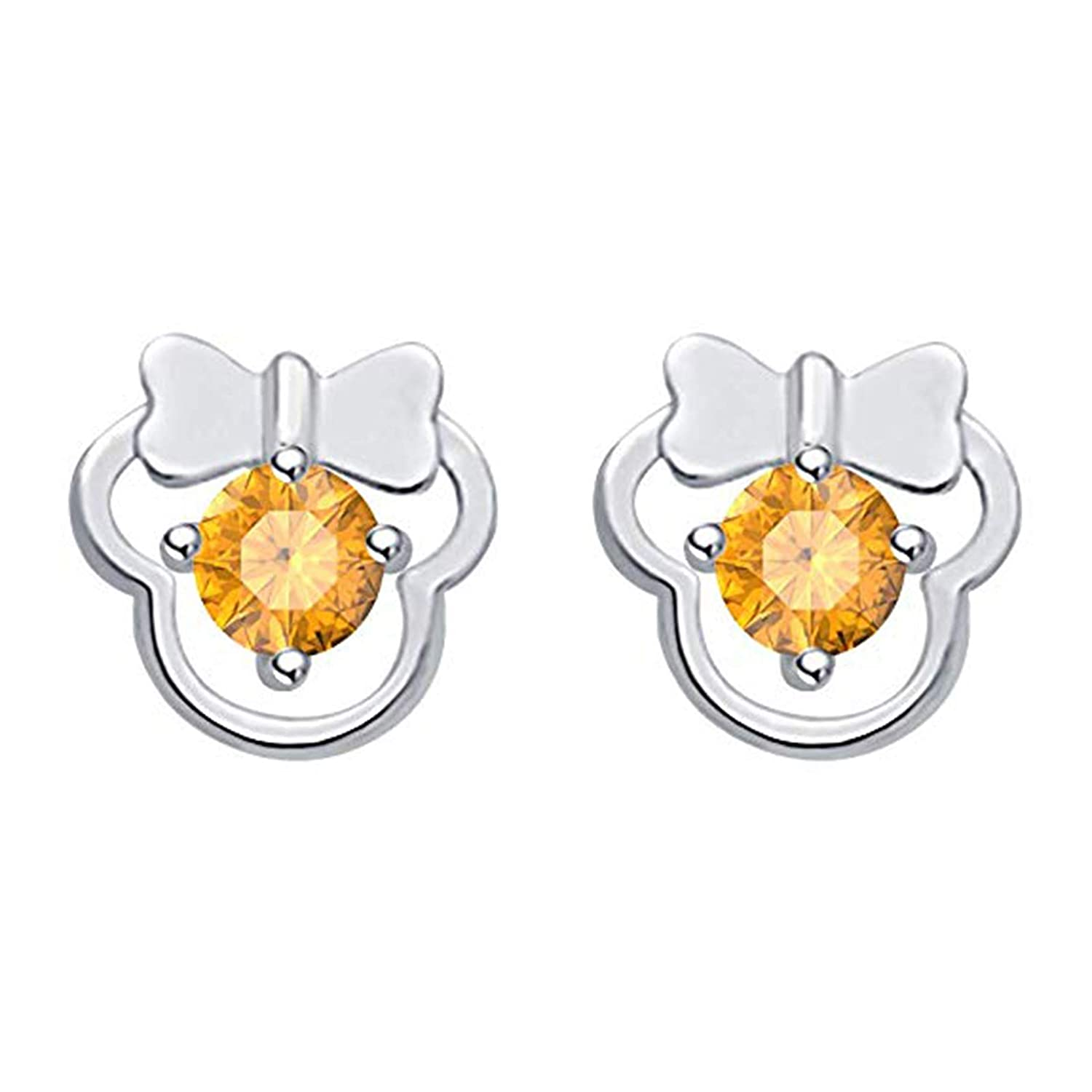 SjSilver Jewels Disney Mickey Earrings Collection 14K Gold Fn Round CZ Gift For Girls Womens