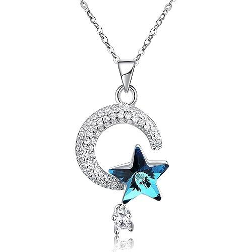b792aa3d549e Daesar Collares Mujer Plata de Ley 925 Collar Luna Estrella Cristal Mujer Collar  Azul  Amazon.es  Joyería