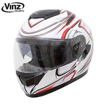 , Wei/ß Schwarz 57-58 cm Motorradhelm in Gr Integral Helm mit Visier Vinz Integralhelm//Rollerhelm Basic M XS-XL