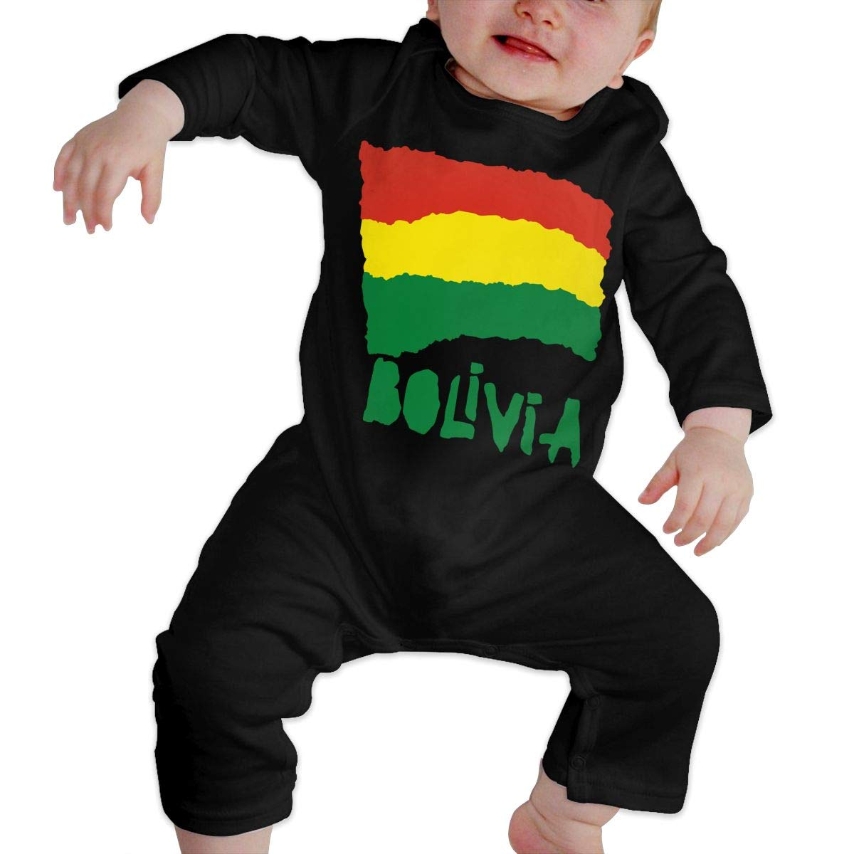 Mri-le1 Baby Boy Girl Long Sleeved Coveralls Bolivia Flag Baby Rompers