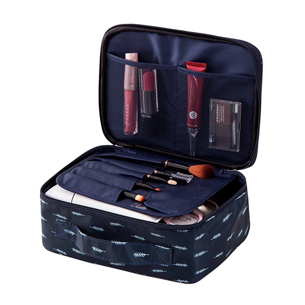 Yiuswoy Travel Toiletry Bag Printed Portable Makeup Bag Multifunction Cosmetic Tote Bag for Vacation Business Camping - Feathers