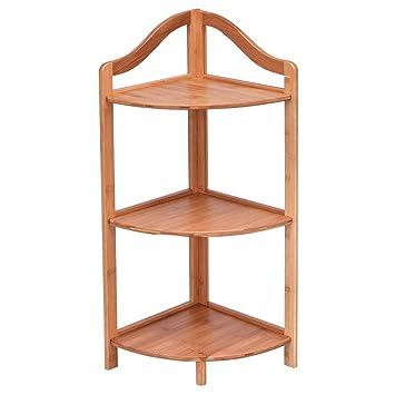 Giantex 3 Tier Corner Shelf Free Standing Corner Rack Tower Organizer  Living Room Bathroom Kitchen Shelving Shelf Storage (Natural)