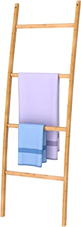 ZRI - Toallero de bambú con 4 barras, muy elegante, para cuarto de baño, salón, bambú, color marrón, bambú, marrón, 50 x 2 x 170 cm: Amazon.es: Hogar