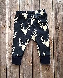 Toddler Infant Baby Boys Deer Long Sleeve Hoodie Tops Sweatsuit Pants,Greyandblue,6-12 Months