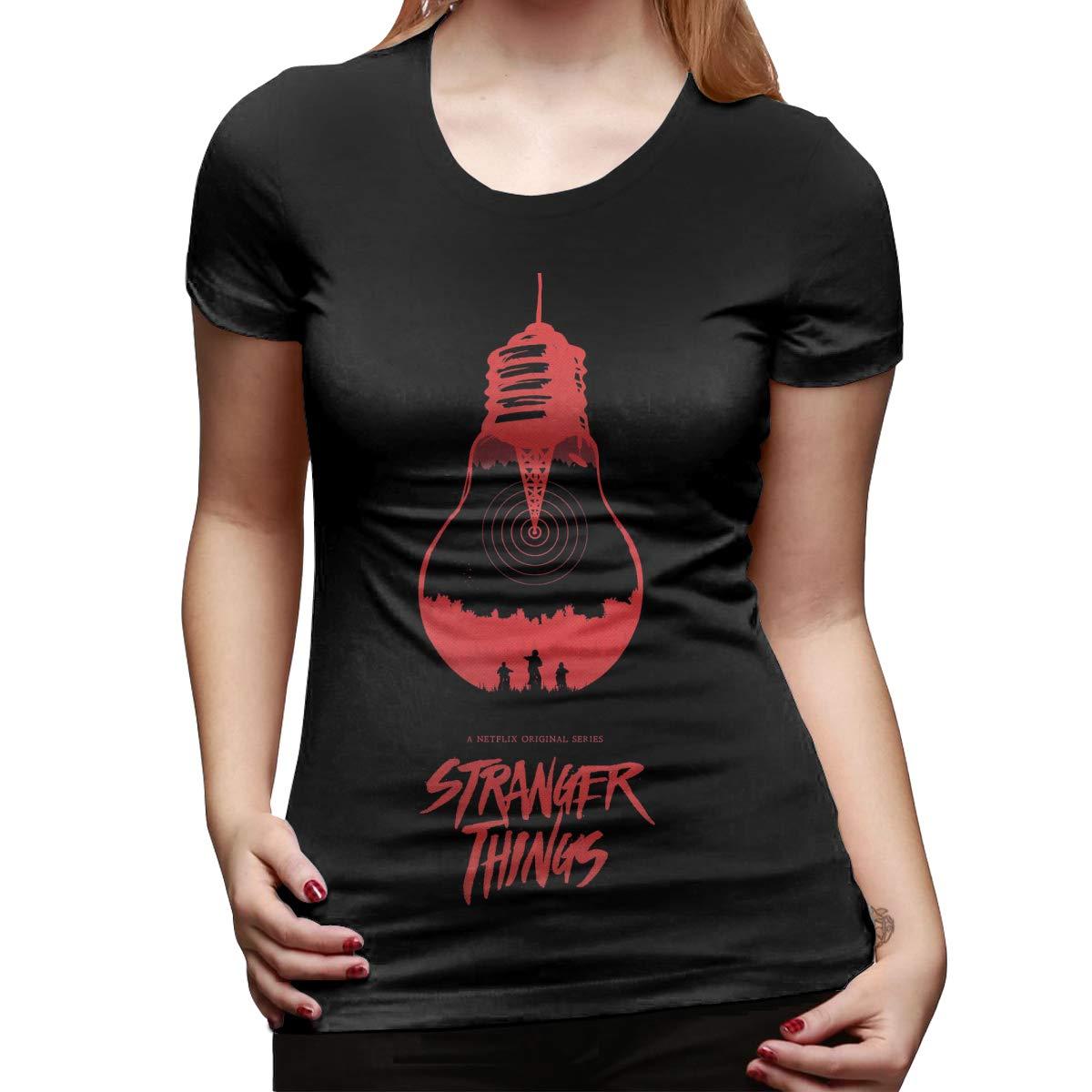 Kaivis Custom Stranger Things Light Bulb O-Neck Funny T Shirts for Women Black