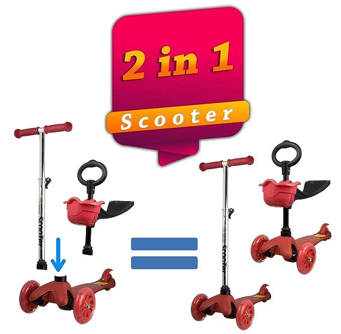 Kenrod Patinete 3 Ruedas para Niños entre 2 y 14 años con diseño Scooter Ruedas Led Sin Pilas Fácil de Desmontar