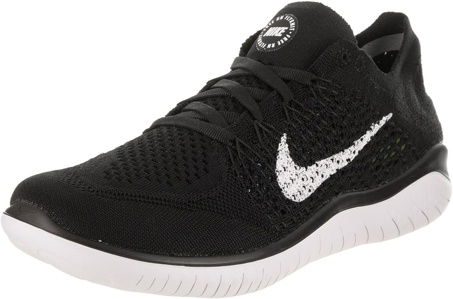 Firmar Escuela de posgrado Buscar a tientas  Amazon.com   Nike Womens Free RN Flyknit 2018 Running Athletic, Black/White  (Black Upper), 9   Road Running