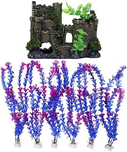 Charmly Resin Castle + 6 Pcs Artificial Plastic Aquatic Plants Aquarium Ornament Fish Tank Decoration