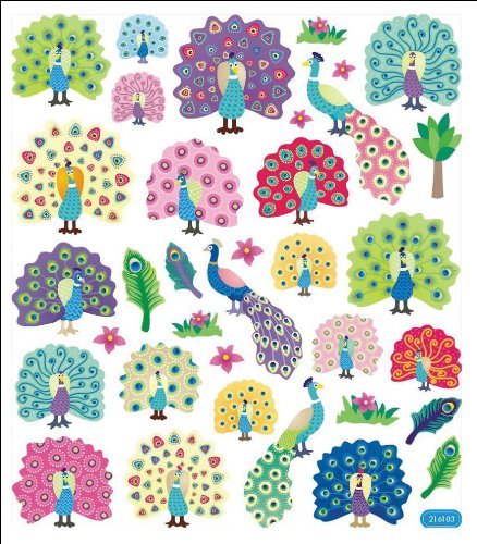 Tattoo King Multi-Colored Stickers-Peacock Splendor Notions In Network SK129MC-4249
