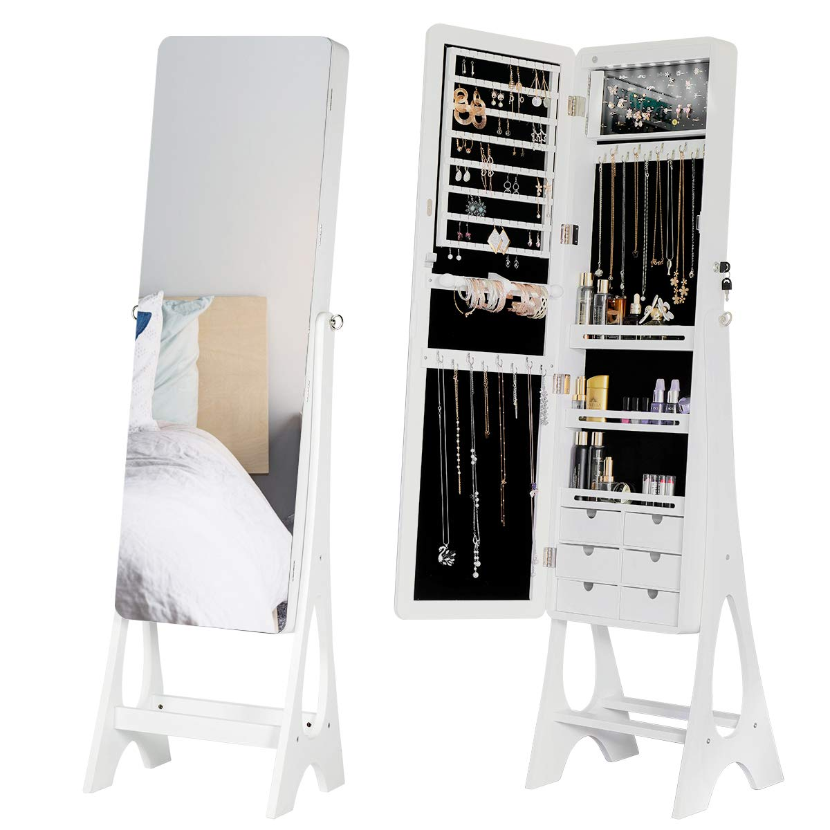YOLENY Jewelry Organizer Jewelry Cabinet, Frameless Full Length Mirror, Lockable Design, Angle Adjuestable, Large Capacity Dressing Mirror Makeup Jewelry Armoire