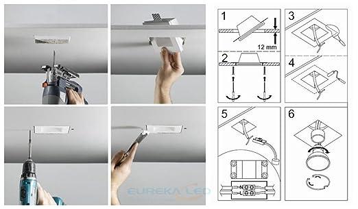 Eurekaled - Soporte cuadrado de escayola cerámica para foco empotrado en falsos techos, GU10, código PF1257: Amazon.es: Iluminación