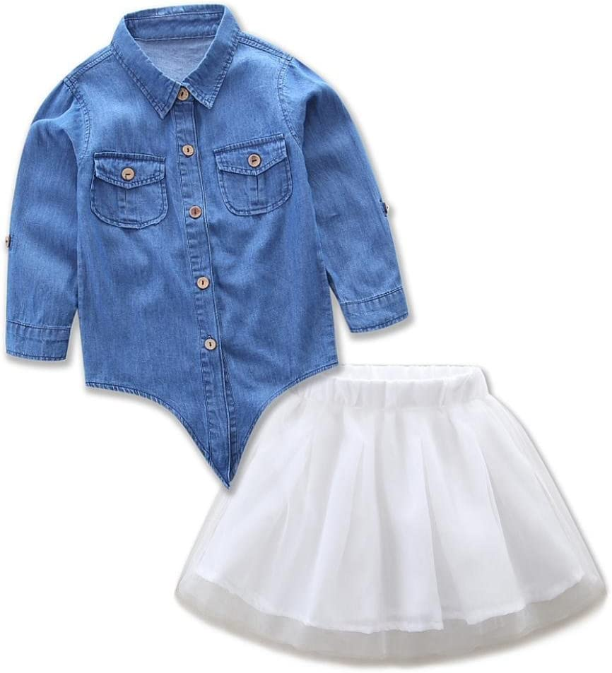 anxinke Niñas Manga Larga Manga Larga Botón Abajo Camisa de Tela Vaquera parte superior con tul faldas vestidos: Amazon.es: Jardín