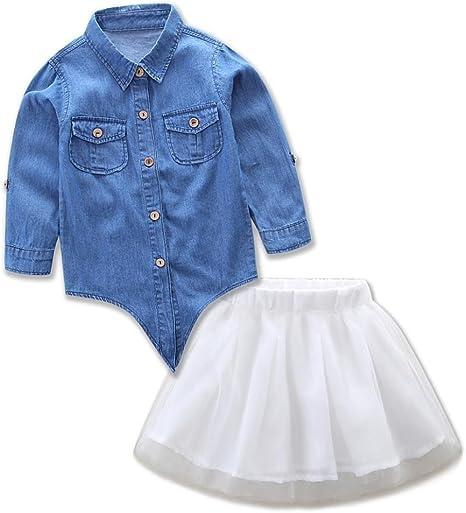 anxinke Niñas Manga Larga Manga Larga Botón Abajo Camisa de Tela Vaquera parte superior con tul faldas vestidos