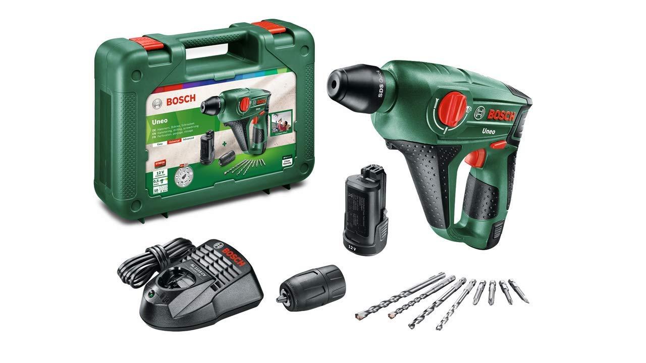 Bosch DIY Akku-Bohrhammer Uneo, Akku, Ladegerät, Rundschaftadapter, 2 SDS-Quick Betonbohrer, 2 Hex-Schaft Bohrer, 4 Bits, Koffer (12 V, 2,5 Ah, 10 mm Bohr-Ø Beton) 060398400D