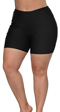 6189d26102f Sociala Black Swim Shorts for Women Plus Size High Waisted Bathing Suit  Bottoms