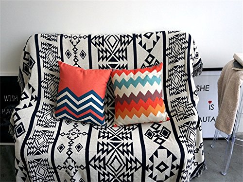 """Luxury Wall Decor 71"""" Nordic Style Sofa Towel Beach Throw Multi-functional Cotton Knit Blanket Double Sided Stripe Quilted Throw Blanket(GT16) (51""""W 71""""H)"""