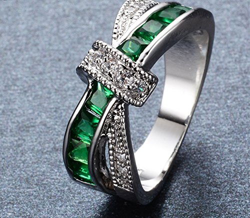 LUXXY Band Green Emerald CZ Criss Cross Classical Jewelry Princess Cut Light White Gold Filled Anniversary Engagement Vintage Ring