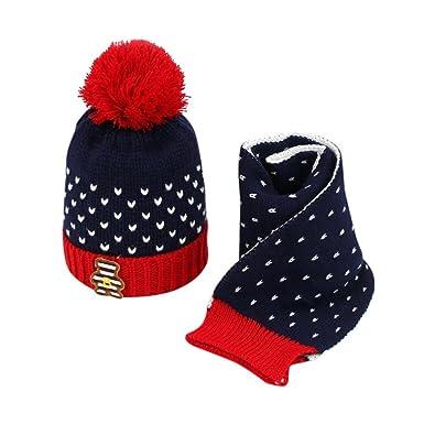 d5b37247486 Kid Scarf Warm Scarves Fuibo 2Pcs Baby Kids Boys Girls Knitted Crochet Beanie  Winter Warm Hat Cap+Neck Scarf Christmas Gift for Kids Neckerchief (Navy)   ...