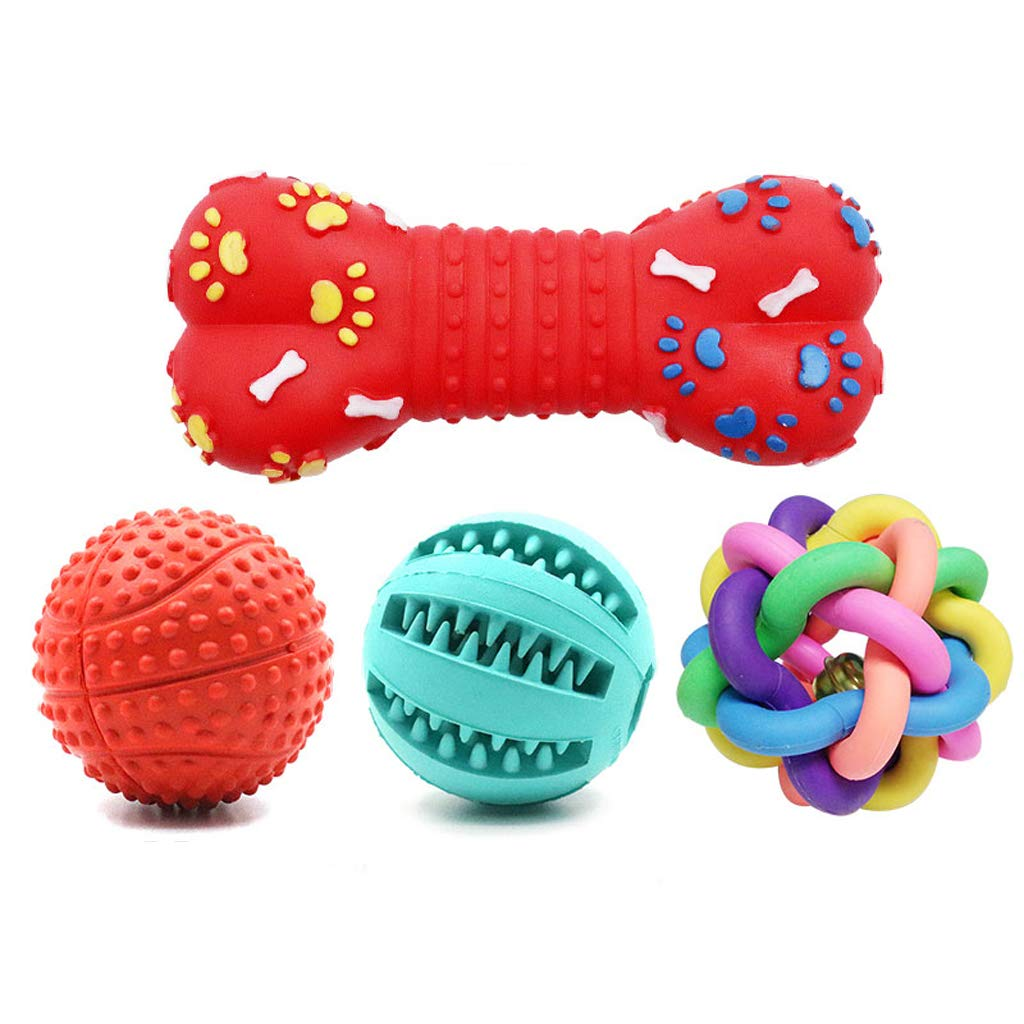D Dog Toy Ball bite Ball pet Dog Molar Toy Small Large Dog Toy Supplies Watermelon Ball + colorful Ball + Bone paw + Massage Ball